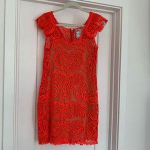 Yoana Baraschi electric orange lace dress